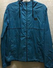 Billabong Mens Womens Blue Zip Hood Windbreaker Rain Jacket S
