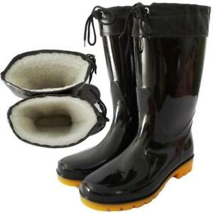 New Men's Fur Lined Waterproof Rubber Ankle Rain Boots Wellies Mid-calf Boots 12