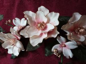 Home Interiors Magnificent Magnolia White Blush/Pink Gold Dogwood Blossom Swag