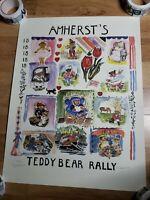 Vintage Amherst Teddy Bear Rally Massachusetts Signed Poster Print
