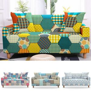 Colorful Stretch Sofa Cover Living Room Sectional Couch Cover Geometric Elastic