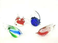 Art Glass Angelfish Figurines Paperweights Set of 4