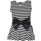 New Women Ladies Stripe Print Wet look Bow Peplum Skater Top Flared Vest