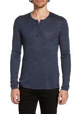 $178 John Varvatos Long Sleeve Linen Blend Henley in Officer Blue Size Large