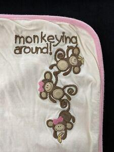 "Gymboree Vintage Outlet 2006 Pink/Brown Monkey Reversible Blanket 27""x28"