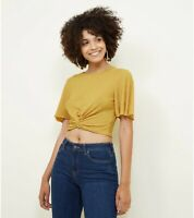 NEW LOOK Mustard Knot Front Crepe Crop Top UK Sizes 6-8-10-12-14-16-18