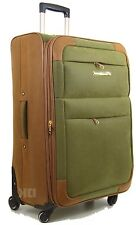 Synthetic Suede Lightweight 4 Wheel Spinner Trolley Cases Suitcases Luggage Bag Green-tan 28""