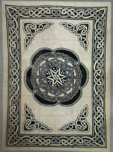 100% Indian Handmade Kantha Cotton Bedspread - Black and Cream