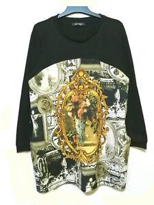 ABA Paris baroque print shift dress/ long top