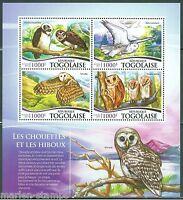 TOGO 2015  OWLS SHEET  MINT NH