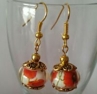 Murano Glass Lampwork Charm Bead Dangle Gold Plated European Style Earrings