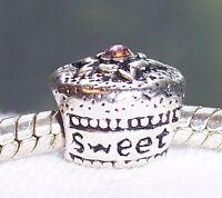 Sweet 16 Birthday Cake Cupcake Pink Rhinestone Gift Charm for European Bracelets