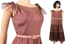 50s Prom Dress XS Vintage Sleeveless Brown Tiered Tulle Cocktail Evening Gown