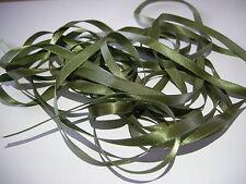 5 Metres 6mm 100% Polyester Single Faced Satin Ribbon Army Green