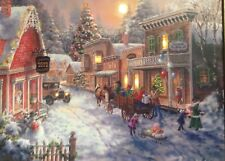 "Vintage Rare Mr.Christmas 16""x 20"" IlluminArt Lighted Canvas Christmas Village"
