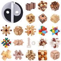 Wood Kongming Luban Lock Block Kids Chinese Puzzles Brain Teaser Magic Toy Gifts