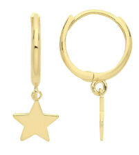 PAIR 9CT HALLMARKED YELLOW GOLD POLISHED 10MM HUGGIE EARRINGS WITH STAR CHARM