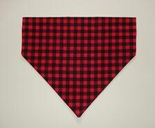 RED/BLACK BUFFALO PLAID DOG SCARF/BANDANA--S, M, L