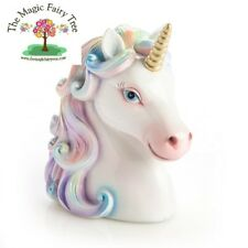 Pastel rainbow unicorn head money bank - bedroom decor money box