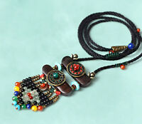 ECHTE STEINE, Kupfer, Holz, Tibet Collier Kette Boho Ethno verstellbar bis 86 cm