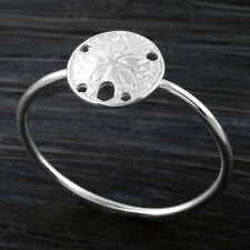 925 Sterling Silver Grooved Cut-Out Sand Dollar Ring Size 5-9 Silver or Gold
