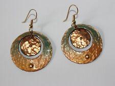 Vintage Artisan Enamel on Hammered Copper Hoop Drop Dangle Earrings.