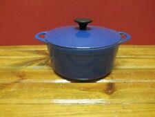 Vintage COUSANCES DUTCH OVEN #18 With Lid Cast Iron Blue Enamel Made In France
