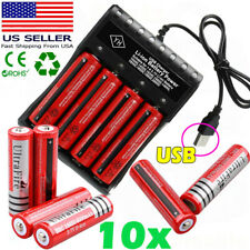 10X UltraFire Powered 18*650 Battery 3.7V Rechargeable Li-ion Batteries Chargers