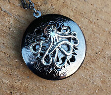 PHOTO medaglione profumo SFERA OCTOPUSS CATENA profumo seppie Steampunk Locket