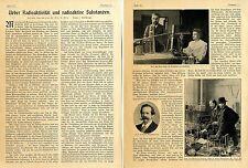 Prof.Witt: Radioaktivität und radioaktive Substanzen (Becquerel-Curie) c.1904
