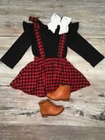 Girls, Toddler Red Black Buffalo Plaid Suspender Skirt Set 2T 3T 4T 5 6 7 8