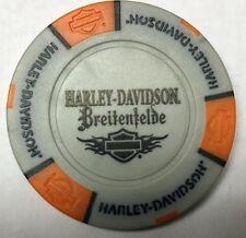 BREITENFELDE, GERMANY HARLEY DAVIDSON POKER CHIP (GRAY & ORANGE)