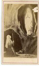 PHOTO CDV d'après dessin ou gravure l'apparition de la vierge Bernadette Lourdes