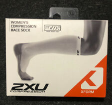NWT Womens 2XU XForm Compression Race Sock White/Grey Sz XL New In Box
