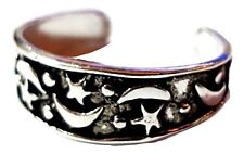 Toe Ring Moon And Stars 925 Sterling Silver Adjustable Celestial Ring Boho
