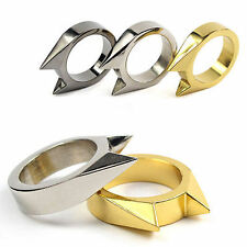 1pcs EDC Self Defence Stainless Steel Ring Finger Defense Ring Tool Silver Color