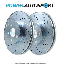 POWER PERFORMANCE DRILLED SLOTTED PLATED BRAKE DISC ROTORS 37498PS FRONT+REAR