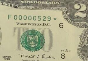 1995 $2 STAR Note LOW Serial number THREE DIGIT PCGS 65 PPQ ( F 00000529* )