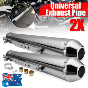 2x Universal 17.5'' Motorcycle Cafe Racer Exhaust Pipe Muffler Sliding Bracket