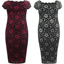 New Womens Plus Size Cap Sleeve Floral Lace Bodycon Midi Dress 14-26