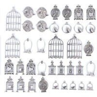 Mix Charms 36pcs/lot Vintage Tibetan Birdcage Silver Pendant DIY Jewelry Maki C