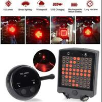 Rechargeable LED Tail Light Turn Signal Rear Lamp Brake Light E-bike Bicycle NEW