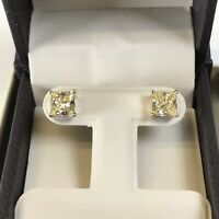 3 Ct Studs Diamond Earrings Princess Fancy Canary Yellow Man Made 14k Solid Gold