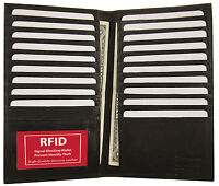 Black RFID Blocking Wallet Leather Bifold 19+ Credit Card ID Checkbook Holder