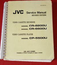 """Service Manual JVC 3/4 """" Video Cassette Recorders CR8200U, CR6600U, & CP5500U!"""