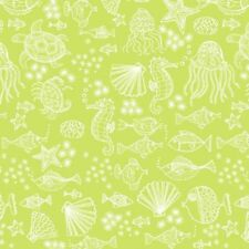 Merryn Tonal Green Outline TP-2006-G  Cotton Quilt Fabric Mermaids by Andover BT