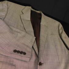 Ralph Lauren Purple Label Beige Check Plaid Wool Blazer Sz 46R