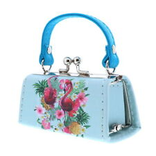 Lipstick Case Purse Great on the Go Blue Floral with Flamingo Doll Coin Purse