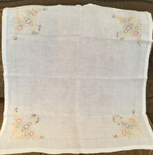 """VINTAGE TABLECLOTH WHITE WITH YELLOW, GREEN BLUE RED EMBROIDERY  34"""" X 34"""""""