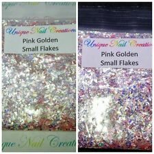 Solvent-Resistant-PINK GOLDEN Small Flakes mixture-Acrylic Nail-Polish-Gel